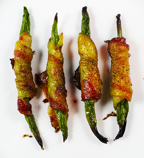 bacon wrapped green beans close up arial